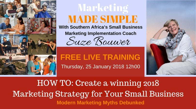 Free Marketing TRAINING by Suze Bouwer on 25 JAN 2018