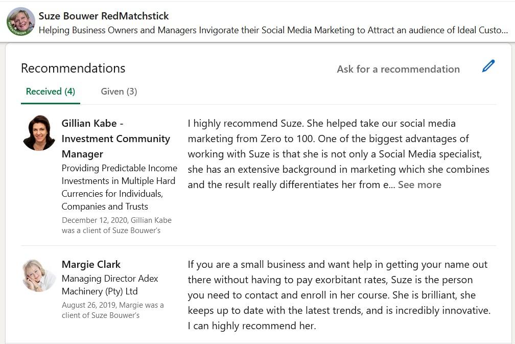 LinkedIn Recommendations Suze Bouwer